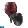 Celina 1 Light LED Sconce In Dark Rust And Copper Glass