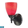 ELK lighting Celina 1 Light LED Sconce In Dark Rust And Scarlet Red Glass