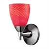 ELK lighting Celina 1-Light Sconce In Polished Chrome With Scarlet Red Glass