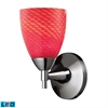 Celina 1 Light LED Sconce In Polished Chrome And Scarlet Red Glass