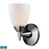 Celina 1 Light LED Sconce In Polished Chrome And White Swirl Glass