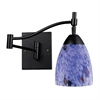 Celina 1 Light Swingarm Sconce In Dark Rust And Starburst Blue Glass