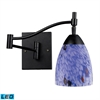 Celina 1 Light LED Swingarm Sconce In Dark Rust And Starburst Blue Glass
