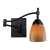 Celina 1 Light Swingarm Sconce In Dark Rust And Cocoa Glass