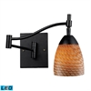 Celina 1 Light LED Swingarm Sconce In Dark Rust And Cocoa Glass