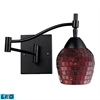 Celina 1 Light Swingarm LED Sconce In Dark Rust And Copper Glass