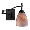 Celina 1 Light Sswingarm Sconce In Dark Rust And Creme Glass