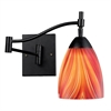 Celina 1 Light Swingarm Sconce In Dark Rust And Multi Glass