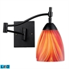 Celina 1 Light Swingarm LED Sconce In Dark Rust And Multi Glass