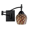 ELK lighting Celina 1 Light Swingarm Sconce In Dark Rust And Multi Fusion Glass