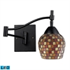 Celina 1 Light Swingarm LED Sconce In Dark Rust And Mountain