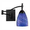 ELK lighting Celina 1 Light Swingarm Sconce In Dark Rust And Sapphire Glass