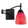 ELK lighting Celina 1 Light Swingarm In Dark Rust And Scarlet Red Glass