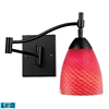 Celina 1 Light LED Swingarm In Dark Rust And Scarlet Red Glass