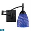 Celina 1 Light Swingarm Sconce In Dark Rust And Sapphire Glass
