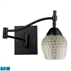 Celina 1 Light LED Swingarm Sconce In Dark Rust And Silver Glass
