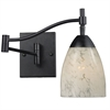 Celina 1 Light Swingarm Sconce In Dark Rust And Snow White