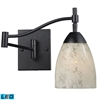 Celina 1 Light LED Swingarm Sconce In Dark Rust And Snow White