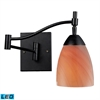 Celina 1 Light LED Swingarm Sconce In Dark Rust And Sandy Glass