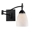 Celina 1 Light Swingarm Sconce In Dark Rust And White Swirl Glass