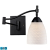 Celina 1 Light LED Swingarm Sconce In Dark Rust And White Swirl Glass