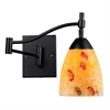 Celina 1 Light Swingarm Sconce In Dark Rust And Yellow Glass