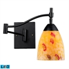 Celina 1 Light Swingarm LED Sconce In Dark Rust And Yellow Glass