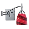 Celina 1 Light Swingarm Sconce In Polished Chrome And Autumn Glass