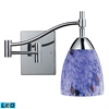 Celina 1 Light LED Swingarm Sconce In Polished Chrome And Starburst Blue Glass