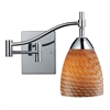 ELK lighting Celina 1 Light Swingarm Sconce In Polished Chrome And Cocoa Glass