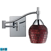 ELK lighting Celina 1 Light LED Swingarm Sconce In Polished Chrome And Copper Glass