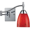 Celina 1 Light Swingarm Sconce In Polished Chrome And Fire Red