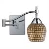 Celina 1 Light Swingarm Sconce In Polished Chrome And Gold Leaf Glass