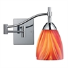 Celina 1 Light Swingarm Sconce In Polished Chrome And Multi Glass