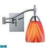 ELK lighting Celina 1 Light LED Swingarm Sconce In Polished Chrome And Multi Glass