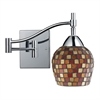 Celina 1 Light Swingarm Sconce In Polished Chrome And Multi Fusion Glass