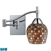 ELK lighting Celina 1 Light LED Swingarm Sconce In Polished Chrome And Multi Fusion Glass