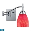 Celina 1 Light LED Swingarm Sconce In Polished Chrome And Scarlet Red Glass