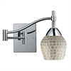 Celina 1 Light Swingarm Sconce In Polished Chrome And Silver Glass