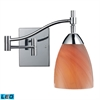 Celina 1 Light LED Swingarm Sconce In Polished Chrome And Sandy Glass