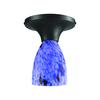 Celina 1 Light Semi Flush In Dark Rust And Starburst Blue Glass