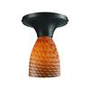 Celina 1 Light Semi Flush In Dark Rust And Cocoa Glass