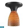 Celina 1 Light LED Semi Flush In Dark Rust And Cocoa Glass