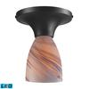 Celina 1 Light LED Semi Flush In Dark Rust And Creme Glass