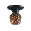 Celina 1 Light Semi Flush In Dark Rust And Multi Fusion Glass