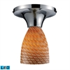 Celina 1 Light LED Semi Flush In Pollished Chrome And Cocoa Glass