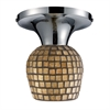 Celina 1 Light Semi Flush In Polished Chrome And Gold Leaf Glass