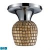 Celina 1 Light LED Semi Flush In Polished Chrome And Gold Leaf Glass
