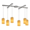 Piedra 6 Light Pendant In Satin Nickel And Genuine Stone
