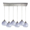 ELK lighting Mela 6 Light Pendant In Satin Nickel And Snow White Glass